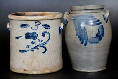 Lot of Two: Stoneware Jars with Cobalt Floral Decoration