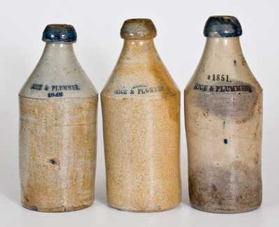 Lot of Three: Dated Stoneware Bottles Impressed RICE & PLUMMER