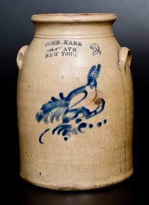 2 Gal. Stoneware Jar with Bird Decoration and New York City Advertising