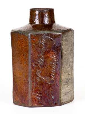 Very Rare Kentucky Redware Cannister by Philip Anthony, 1795