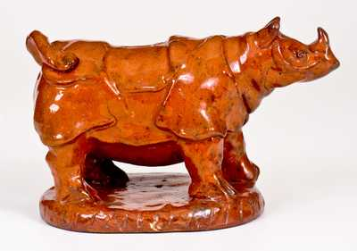 Possibly Unique Pennsylvania Redware Rhinoceros Bank