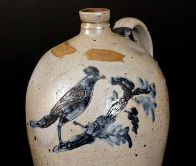 Extremely Rare Baltimore Stoneware Jug w/ Incised Bird Decoration, c1812-27