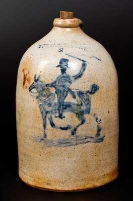 Very Fine M. TYLER / ALBANY, NY Stoneware Jug with Horse and Rider Decoration
