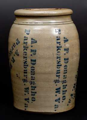 Very Unusual A. P. DONAGHHO / PARKERSBURG, W. VA Stoneware Jar w/ Profuse Maker's Stenciling