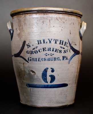 Unusual 6 Gal. att. G. & A. Black (Somerfield, PA) Stoneware Jar w/ GREENSBURG, PA Advertising