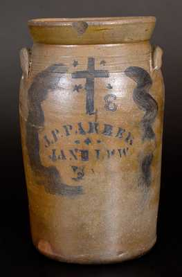 3 Gal. J. P. PARKER / JANE LEW, WV Stoneware Churn with Stenciled Cross and Stars
