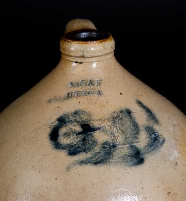 Extremely Rare 2 Gal. A. GAY / UTICA Stoneware Jug w/ Incised Dog