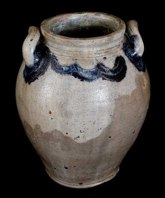 J. REMMEY / MANHATTAN WELLS / NEW YORK Stoneware Jar w/ Incised Decoration, c1810