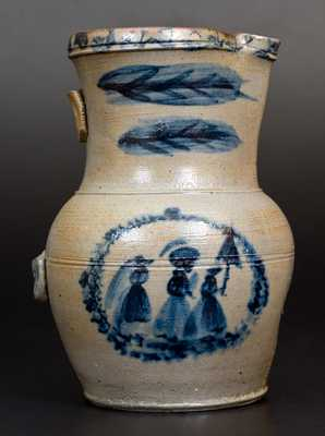 Exceptional D. G. Thompson, Morgantown, WV, Stoneware Pitcher w/ Elaborate People Decoration