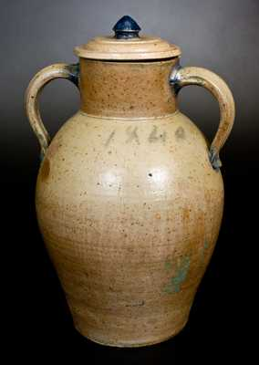 Extremely Rare and Important John Floyd  (Potter of Knox County, TN) Stoneware Water Cooler, 1840