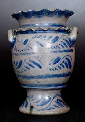 Exceptional Western PA Stoneware Flower Urn w/ Double Crimped Rim and Profuse Vine Decoration