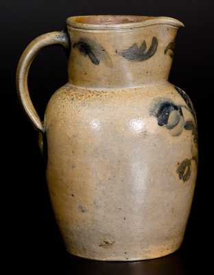 Very Rare WELLS & RICHARDS / READING, PA Half-Gallon Stoneware Pitcher w/ Elaborate Decoration