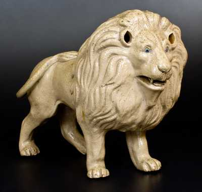 Exceptional Large-Sized Stoneware Figure of a Lion, New York State origin, circa 1880
