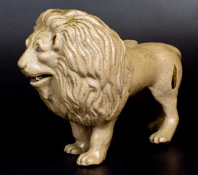 Exceptional Stoneware Lion Figure w/ Hand-Modeled Details, probably New York State, c1880
