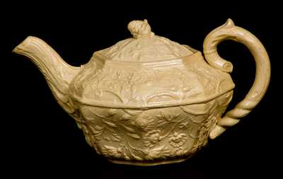Very Rare AMERICAN POTTERY CO. / JERSEY CITY Yellowware Teapot, 1838-1845