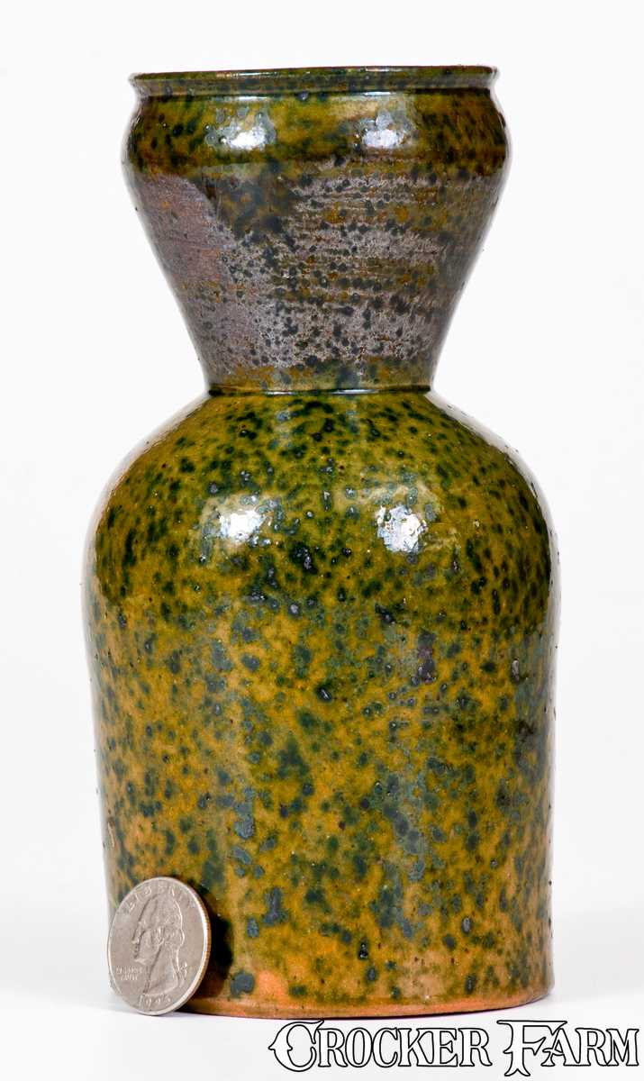 George Ohr Pottery Large Vase With Flecked Green Glaze