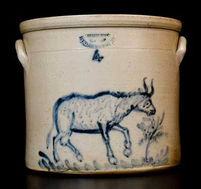 Excellent William MacQuoid (New York City) Stoneware Cow Crock