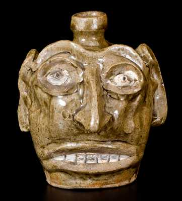 Exceptional Folk Art Face Jug, Edgefield, SC, circa 1845-60