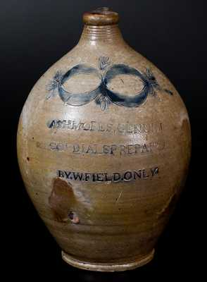 Thomas Commeraw Stoneware Advertising Jug: ASHMORES. GENUIN / CORDIALS PREPAIRD / BY. W. FIELD. ONLY.