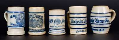 Five Breweriana Stoneware Mugs, attrib. to the Whites Pottery, Utica, NY, late 19th century