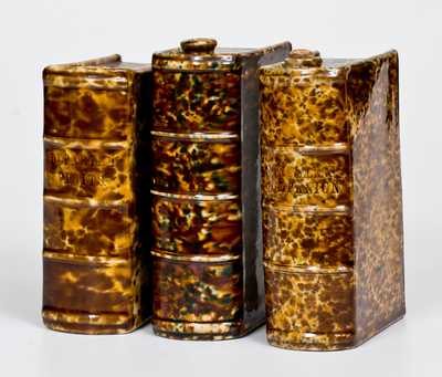Three Flint Enamel Book Flasks, attrib. Lyman, Fenton & Co., Bennington, VT, c1849-1852