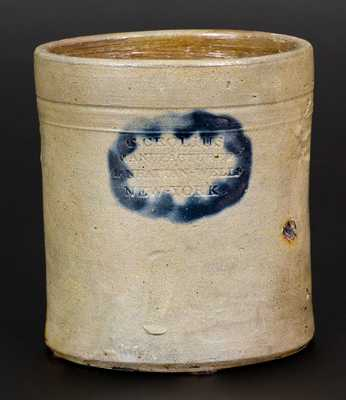 C. CROLIUS / MANUFACTURER / MANHATTAN-WELLS / NEW-YORK Stoneware Jar