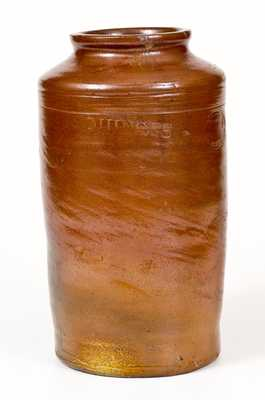 Very Rare Signed Crolius (NY) Stoneware Fruit Jar, Impressed QUINCES and PEARS