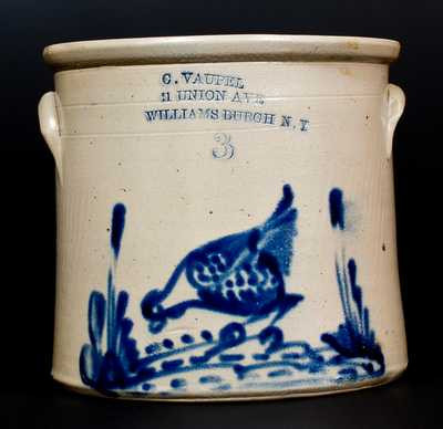 Scarce C. VAUPEL / 11 UNION AVE / WILLIAMSBURGH N.Y Stoneware Chicken Crock