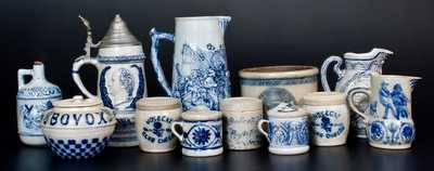 Twelve Pieces of Molded Stoneware, attributed to the White's Pottery, Utica, NY