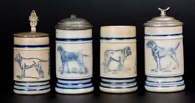 Four Stoneware Mugs with Dog Motifs, attrib. White's Pottery, Utica, NY