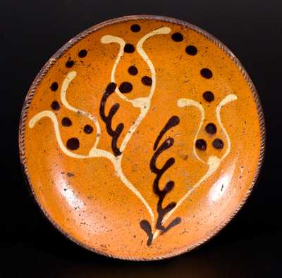 Pennsylvania Redware Plate w/ Two-Color-Slip Tulip Decoration, probably Berks County