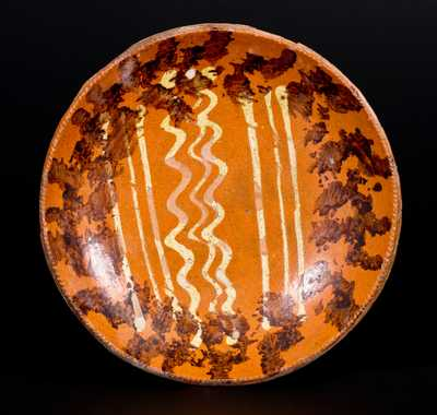 Slip-Decorated Redware Plate, Pennsylvania origin, 19th century