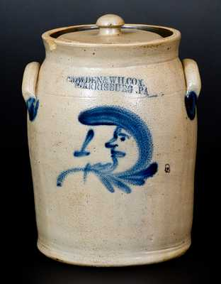 Scarce COWDEN & WILCOX. / HARRISBURG. PA Stoneware Man-in-the-Moon Jar