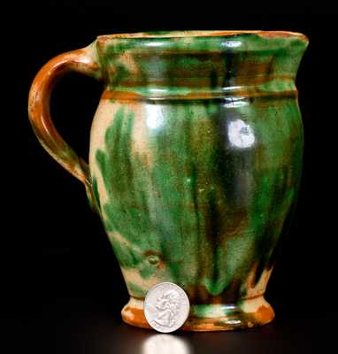 Outstanding Squat Shenandoah Valley Multi-Glazed Redware Cream Pitcher