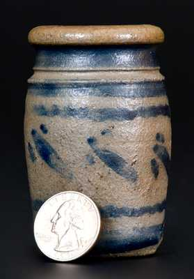 Rare Miniature Western Pennsylvania Stoneware Jar with Cobalt Decoration