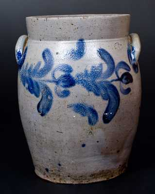 3 Gal. Baltimore Stoneware Jar with Floral Decoration, circa 1840