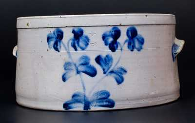 4 Gal. Baltimore Stoneware Cake Crock w/ Floral Decoration, circa 1860