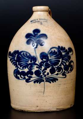 J. & E. NORTON / BENNINGTON, VT Stoneware Jug w/ Elaborate Slip-Trailed Floral Decoration
