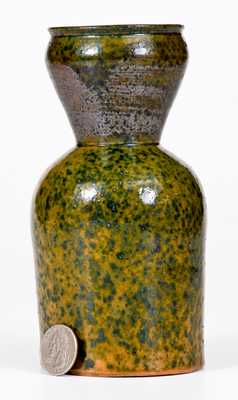 George Ohr Pottery Large Vase with Flecked Green Glaze