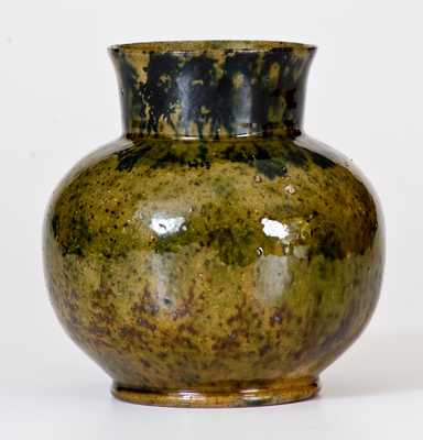 George Ohr Pottery Squat Ovoid Green Vase
