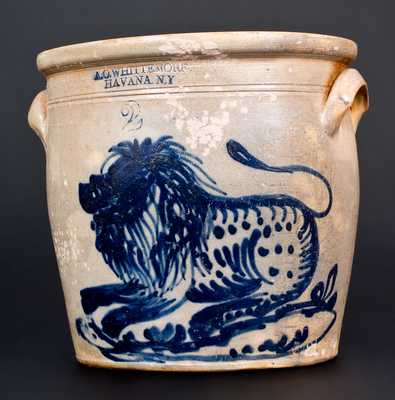 A. O. WHITTEMORE / HAVANA, NY Stoneware Jar w/ Exceptional Lion Decoration