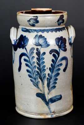 Stoneware Churn w/ Floral Decoration att. Richard Remmey, Philadelphia, PA