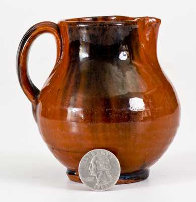 New England Redware Cream Pitcher w/ Manganese Decoration