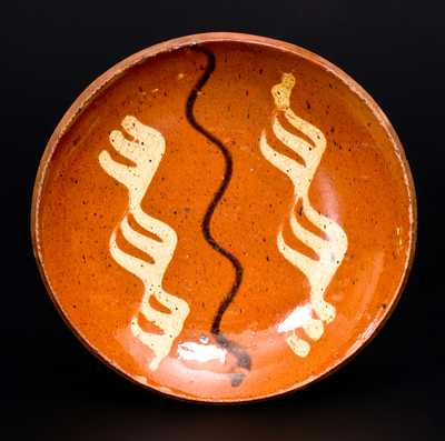 Berks County, PA Redware Plate with Two-Color Slip Decoration