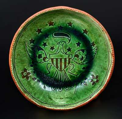 Fine Sgraffito Jacob Medinger Redware Plate with Eagle Design