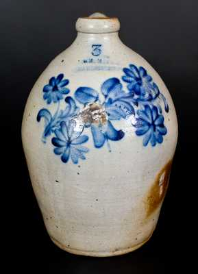 Rare WM. MOYER / HARRISBURG, PA Stoneware Jug w/ Very Fine Floral Decoration