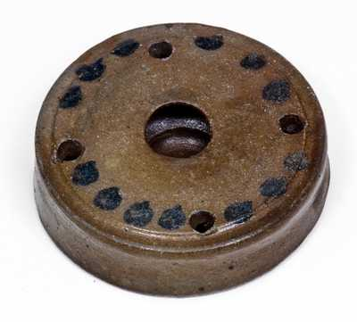 Exceedingly Rare James River, Virginia Stoneware Inkwell with Spotted Decoration