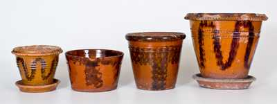 Lot of Four: Pennsylvania Redware w/ Coggled and Sponged Manganese Decoration