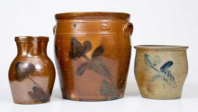Lot of Three: Decorated Stoneware Jars and Pitcher att. D. P. Shenfelder, Reading, PA