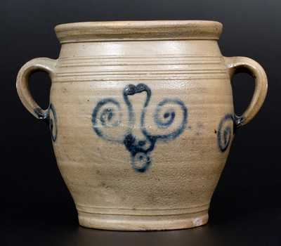 Very Rare Abraham Mead Vertical-Handled Stoneware Jar, Greenwich, CT, circa 1790